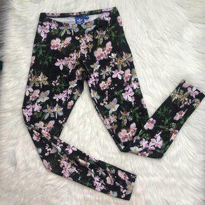 Adidas Black pink floral stretch yoga leggings